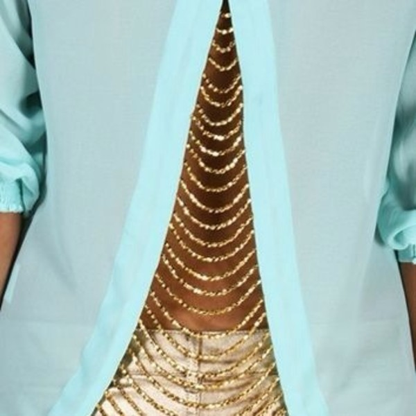 blouse gold chain light blue open back