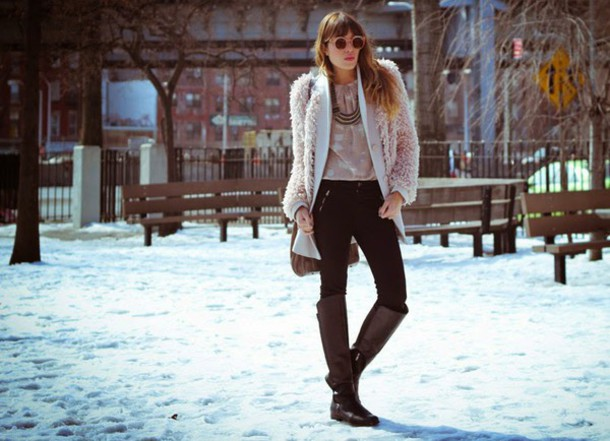 the marcy stop blogger jacket fuzzy coat necklace riding boots