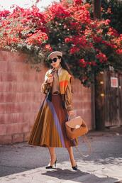hallie daily,blogger,blouse,skirt,sweater,bag,hat,pleated skirt,beret,fall colors,fall outfits