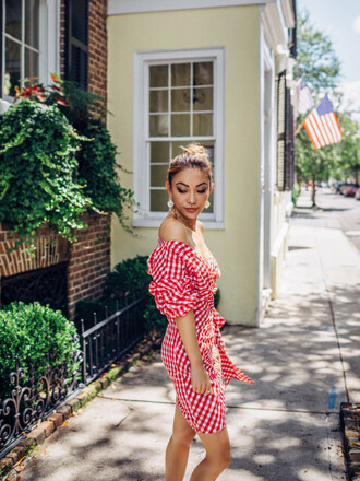 dress tumblr mini dress red mini dress red dress gingham off the shoulder off the shoulder dress earrings accessories accessory jewels gingham dresses not jess fashion blogger