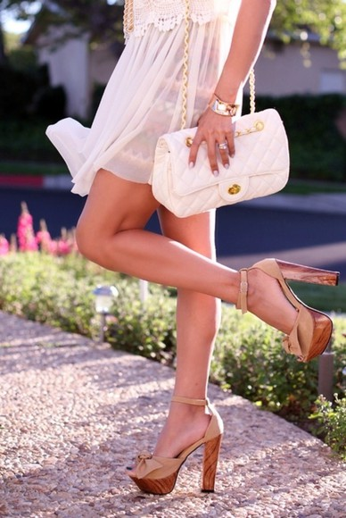 shoes nude sandals wedges bag brown platform bow cute high heels woodheels, high heels, wood, summerheels