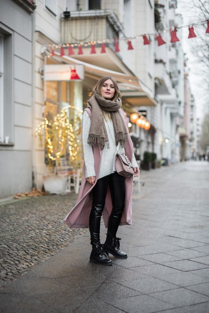 coat tumblr pink coat vest sweater grey sweater knitted scarf scarf pants black pants black leather pants leather pants boots black boots ankle boots