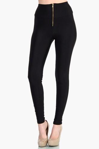 pants black front zipper zipped pants