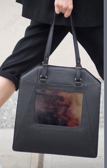 printed bag bag handbag black leather purse
