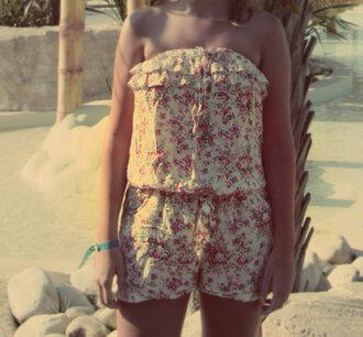 shorts combinaison fleurie courte bustier piscine