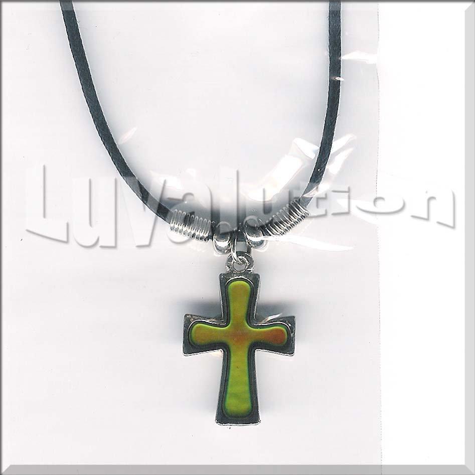 Cross mood pendant necklace choker