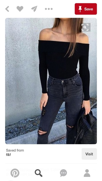 top off the shoulder sweater black sweater off the shoulder top long sleeves jeans grey jeans ripped jeans charcoal skinny jeans skinny distressed denim navy navy jeans fashion girl cute denim topshop outfit ootd love black off the shoulder top