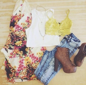 jeans ripped jeans floral cardigan yellow underwear brown leather heels