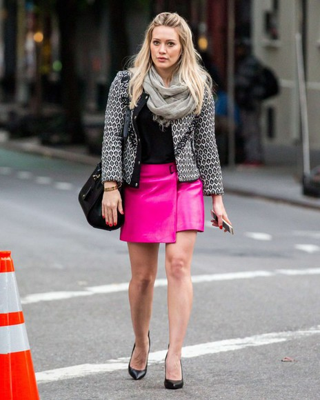 shoes hilary duff skirt pink bag jewels fall outfits