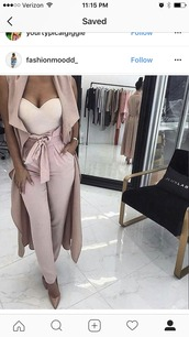 pants,blush,pink,shirt,sweetheart neckline