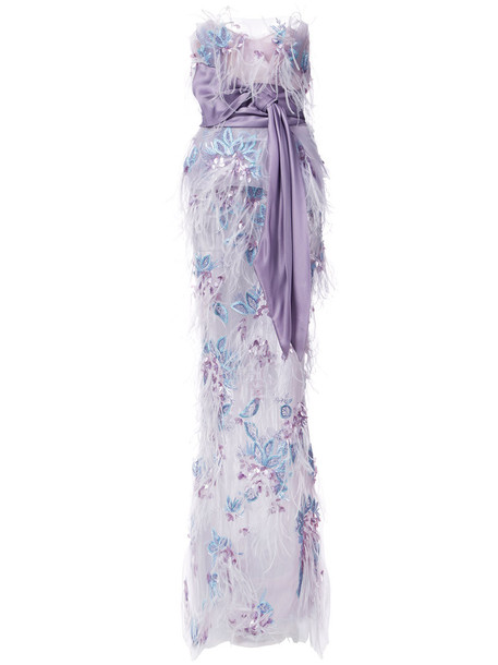 Marchesa gown strapless women embellished purple pink dress
