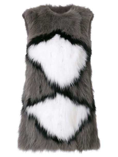 Meteo by Yves Salomon jumper sleeveless fur fox women grey sweater