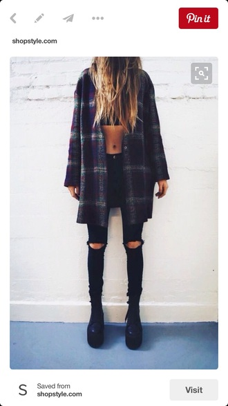 jacket hole jeans knee hole jeans flannel flannel shirt flannel top distressed denim black grunge plaid plaid jacket crop tops