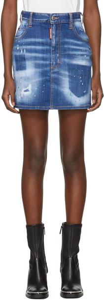 Dsquared2 miniskirt denim blue skirt