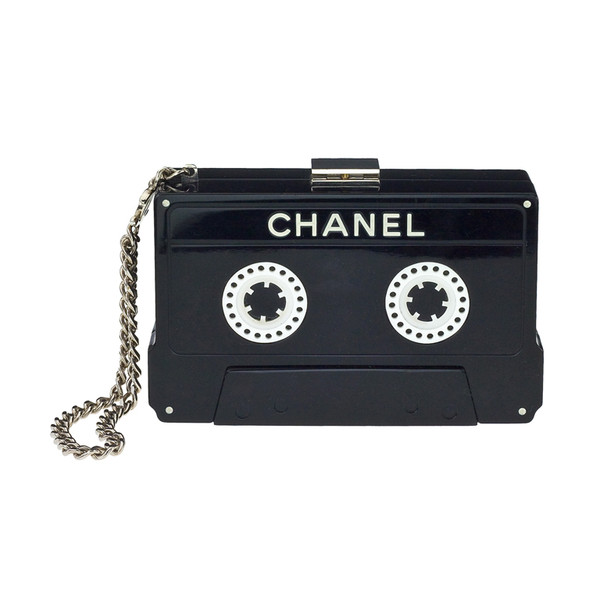 bag black tape record music cool cassete chanel