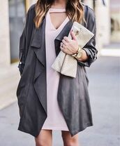 coat,tumblr,grey coat,duster coat,mini dress,pink dress,dress,pouch,watch,nude,bodycon,bodycon dress,party dress,sexy party dresses,sexy,sexy dress,party outfits,sexy outfit,summer dress,fall outfits,winter outfits,winter dress,fall dress,classy dress,elegant dress,cocktail dress,date outfit,cute dress,girly dress,clubwear,club dress