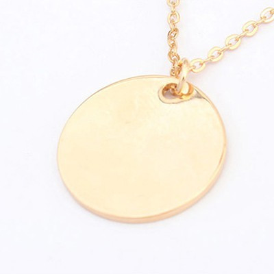 Personalised Initial Golden Disc Pendant Necklaces - Cherry Diva