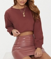 skirt,mauve,latex,sweater,short skirt,pink,mini skirt,stretchy