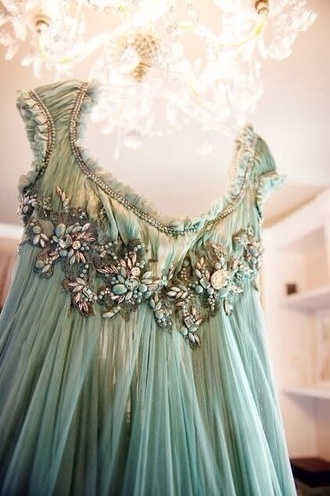 dress ancient light lights embellished long maxi green aqua mint turquoise pink crystal diamonds beautiful amazing jewelry accessories tulle skirt sleeves