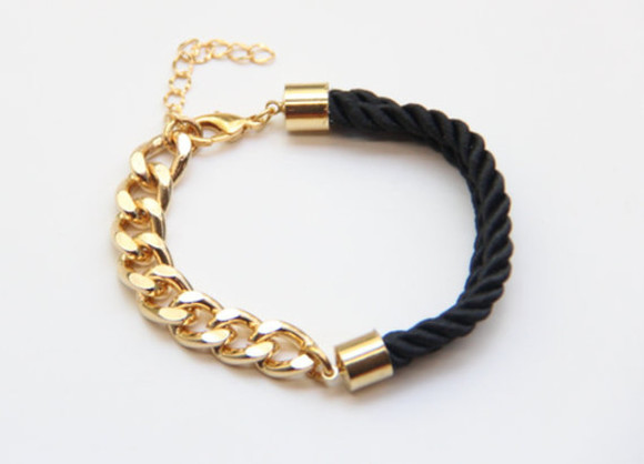 jewels gold golden black bracelets tumblr girl tumblr gold chain