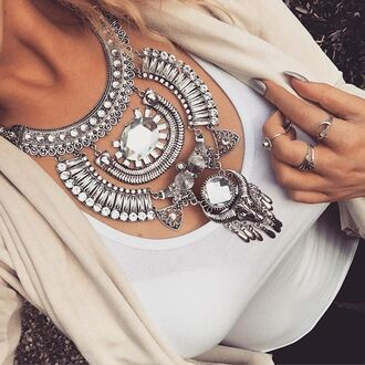 jewels cherry diva boho necklace statement necklace silver silver jewelry silver necklace boho jewelry