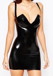 dress,leather,black,bodycon
