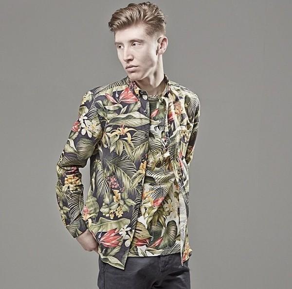 shirt mens designer fashion green colorful pattern t-shirt style menswear mens t-shirt jacket mens jacket tropical palm tree print