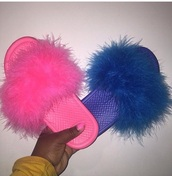 shoes,fuzzy slippers,pink,blue