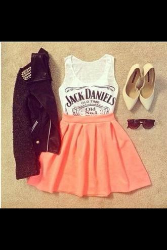 tank top jacket shoes sunglasses skirt