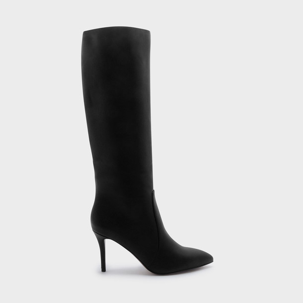 high knee high booties black shoes