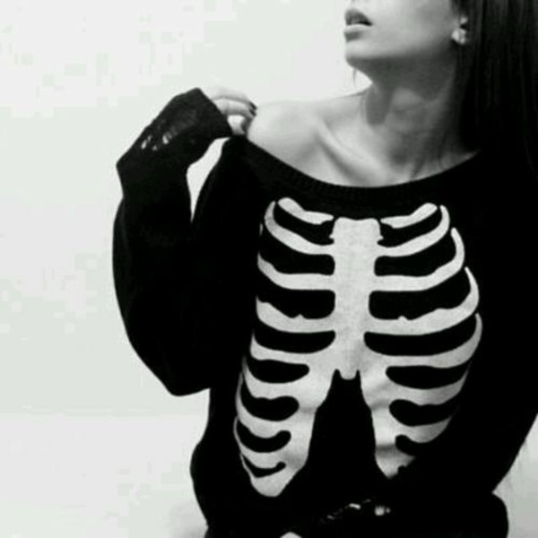 skeleton halloween jumpsuit black skull white sweater black and white tumblr outfit grunge sweater