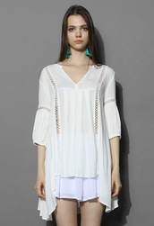 top,summer breeze v-neck hi-lo tunic in white,chicwish,hi-lo tunic,white tunic,chicwish.com