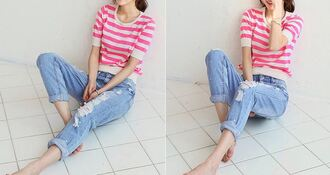 pants jeans stripes streetwear denim asian it girl shop korean fashion vintage instagram chic