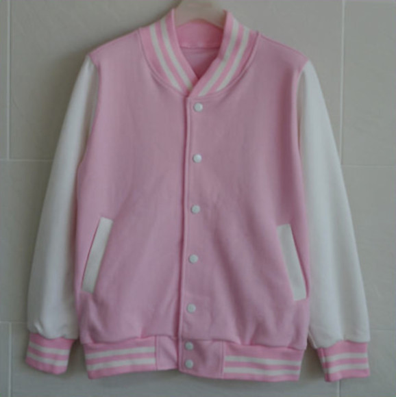 pink jacket pink jacket old school american lightpink kawaii baseball jacket pretty trendy white and pink
