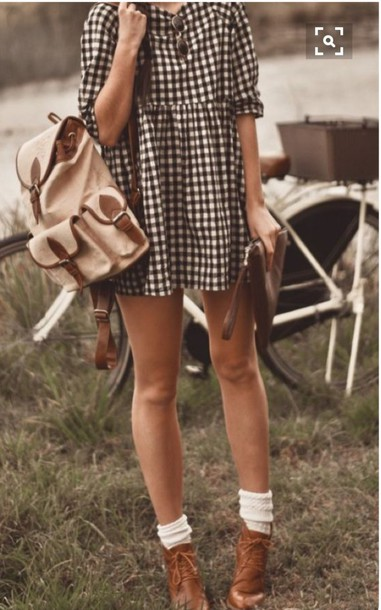 bag smock dress smock dress backpack shoes hipster