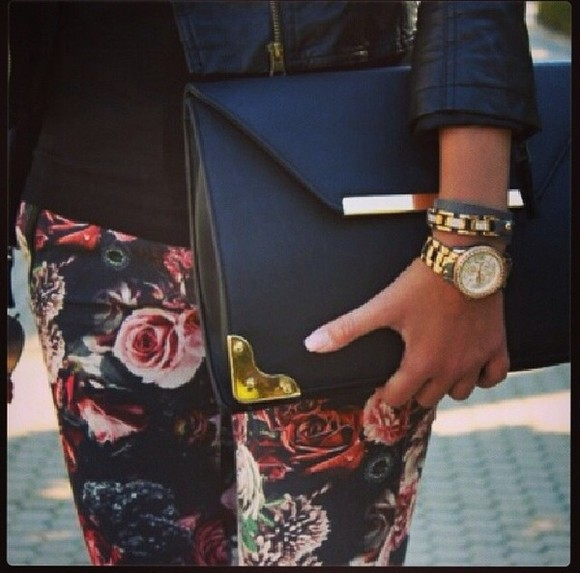 floral bag black jeans gold clutch sexy beautiful bags fashion dark helps nails french leather jacket black jeans floral jeans