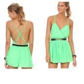 jumpsuit,green,summer,sexy,open back