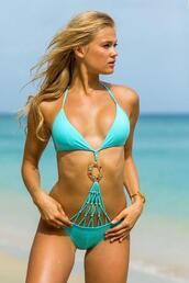 swimwear,aqua jewel monokini,blue,cheeky,monokini,womens sauvage,bikiniluxe