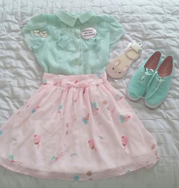 skirt shoes pink blue green pastel pretty kawaii ice cream cute white mint shirt blouse