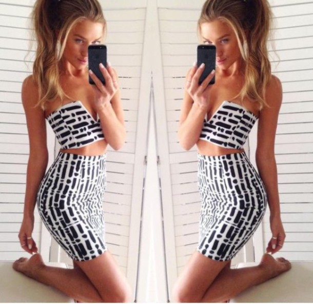 2c79212337ca dress two-piece black and white outfit pattern top skirt crop tops midi  skirt bodycon