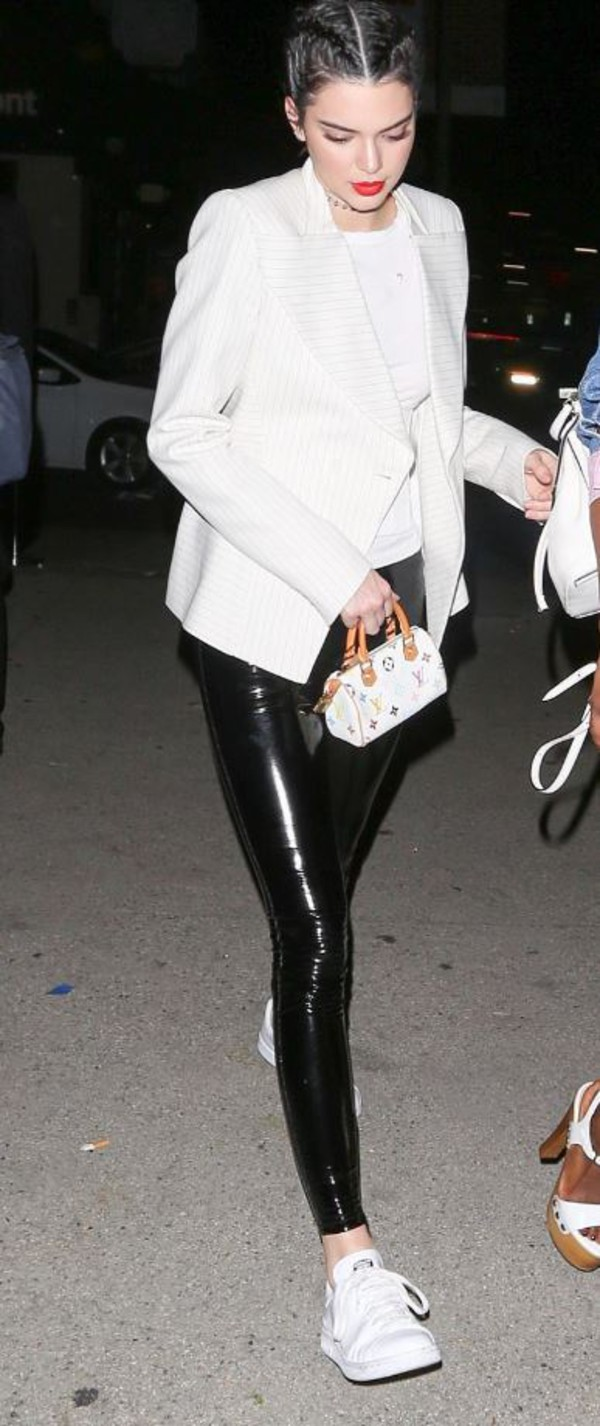 top spring outfits kendall jenner streetstyle sneakers white blazer model off-duty pants