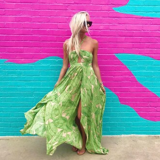 dress tumblr maxi dress slit dress green dress floral floral dress flowy flowy dress sunglasses long dress