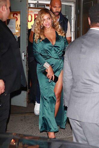 dress wrap dress green green dress beyonce plunge dress maxi dress