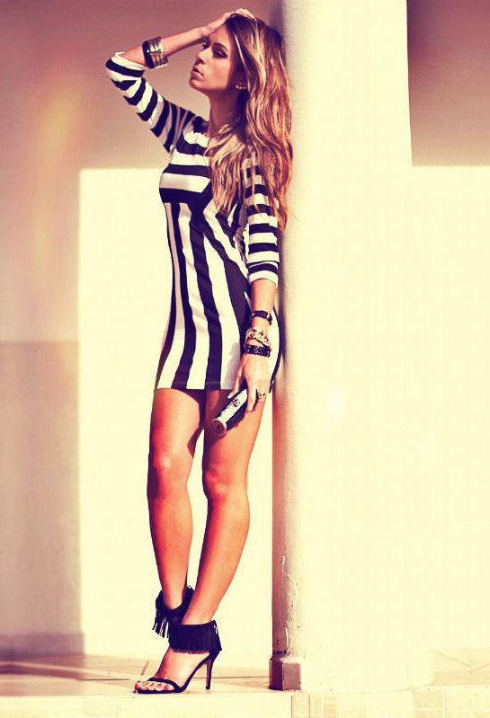 H&M Black & White Stripe Print Fitted Dress Size 10 EUR38 Bloggers Fav *** BNWOT   eBay