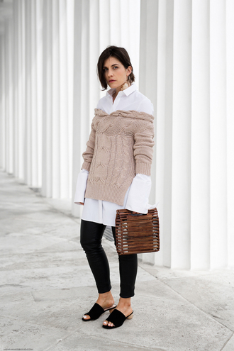 viennawedekind blogger sweater shirt pants bag jewels mules wood black pants beige sweater white shirt spring outfits