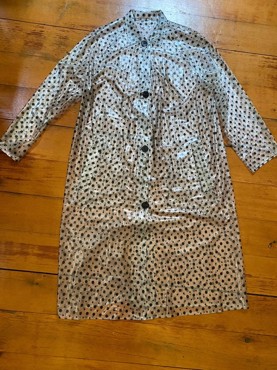 Vintage 60s see-through vinyl mod polka dot rain coat, with accessories (and pockets)