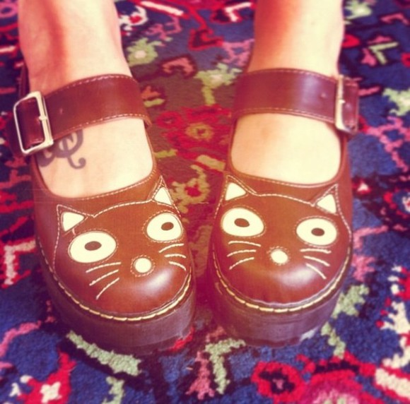 brown shoes cat marziapie straps cute kitty cat face