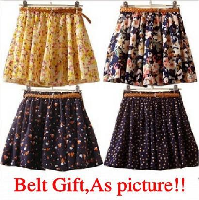 16 patterns summer sweet dot chiffon culottes floral/cross/love print pleated skirt shorts skort feminino gilft belt 02511