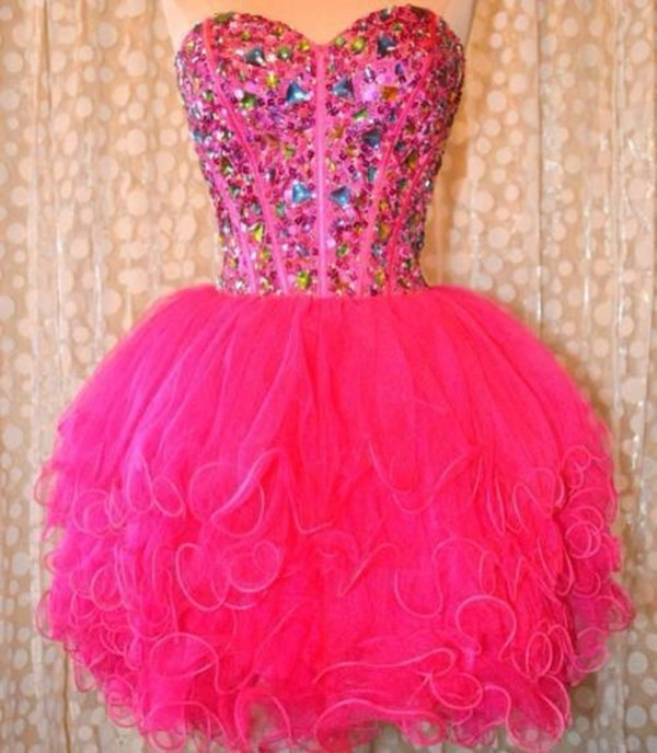 dress pink pink dress in diamonds pink sweetheart dress with gems prom dress short dress pink prom dress hot pink dress