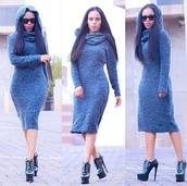dress,Hooded dress,bodycon dress,oversized sweater